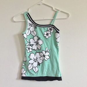 Justice Green Floral Tank for Kids/ Size 10